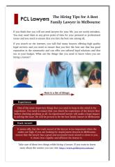 The Hiring Tips for A Best Family Lawyer in Melbourne.pdf